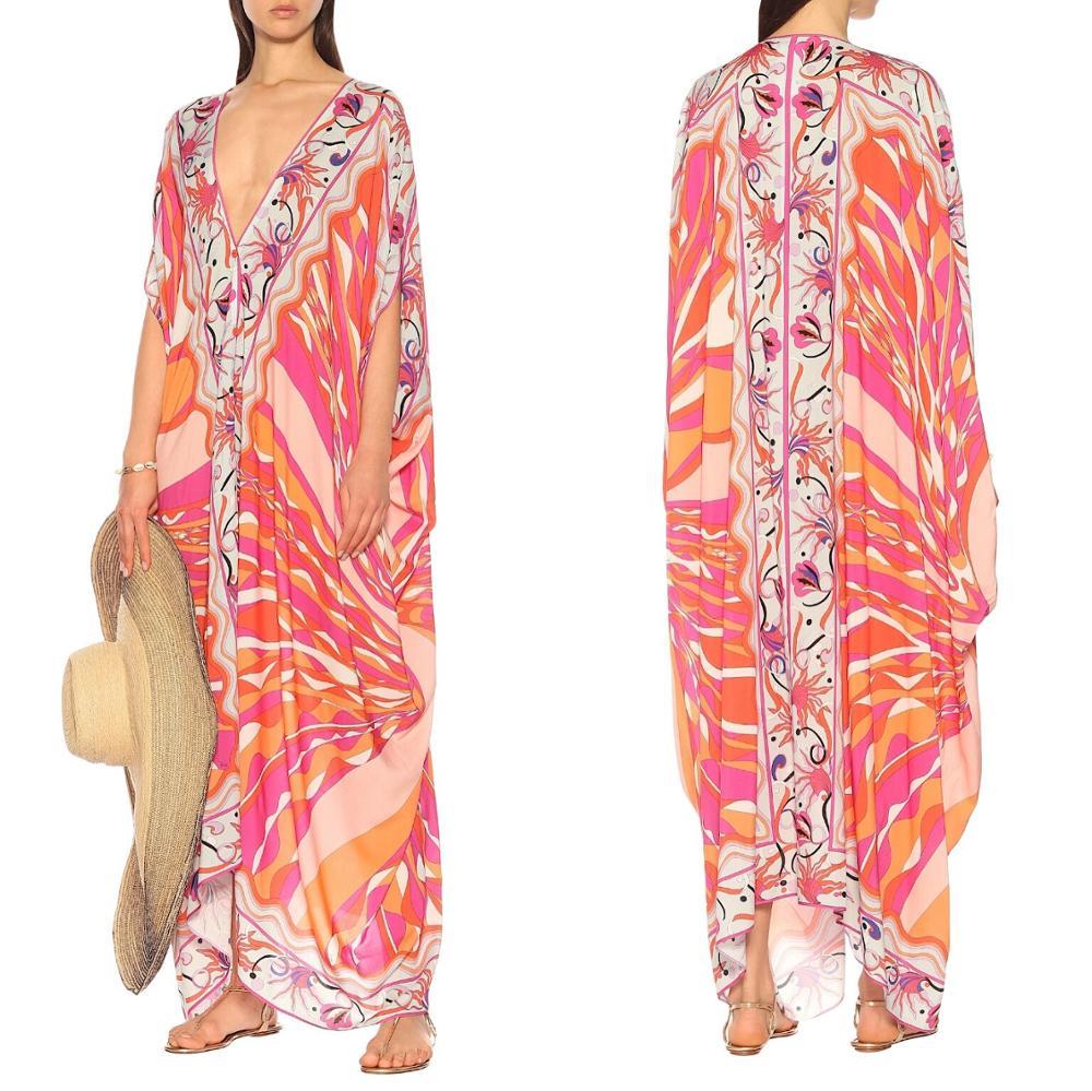 New V-neck printed fashion half sleeve elastic knitting loose casual dress