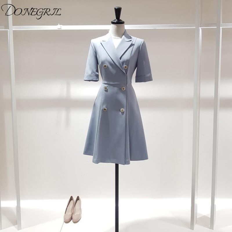Half sleeve Women Dress Plaid Office Lady Knee-length Pleated Dresses Woman Fashion Elegant Double Breaste women's Clothing 1