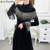 Joinyouth Tassel Half Turtleneck Mid-Calf Vestidos Women Velour High Waist Long Sleeve Dress Solid Slim Party Dresses 56787