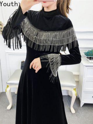 Joinyouth Tassel Half Turtleneck Mid-Calf Vestidos Women Velour High Waist Long Sleeve Dress Solid Slim Party Dresses 56787