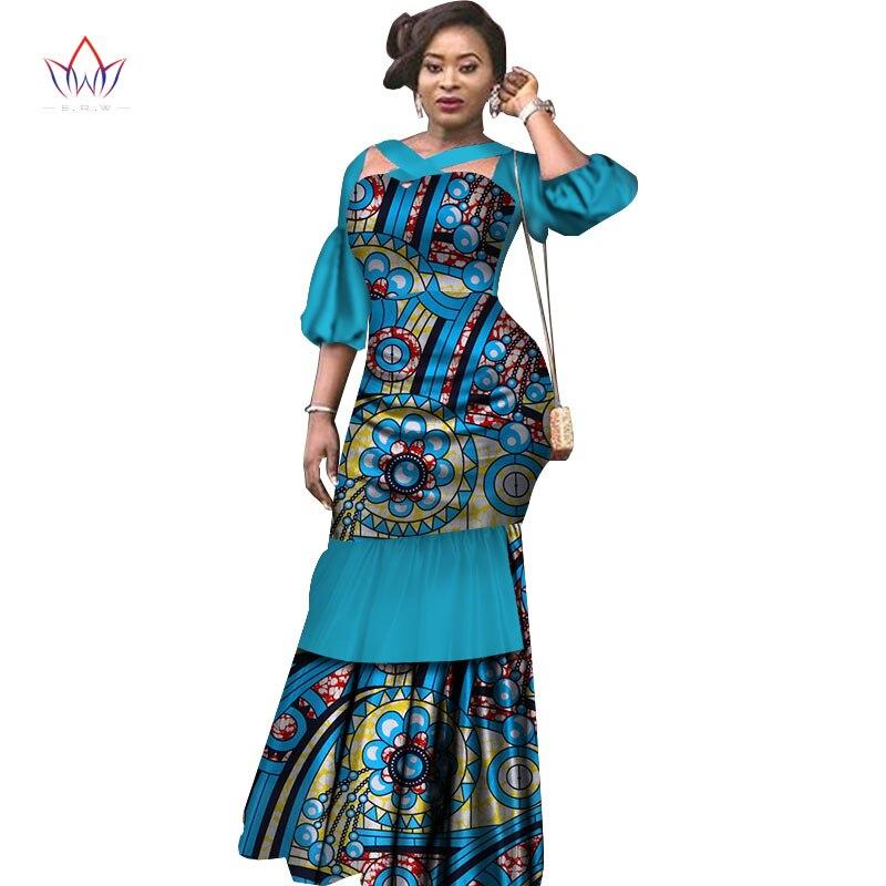 Summer Dress African Fabric Dashiki Print Dresses Half Puff Sleeve Mermaid Dress Maxi Dress Women Plus Size Clothing 6XL WY2465 2