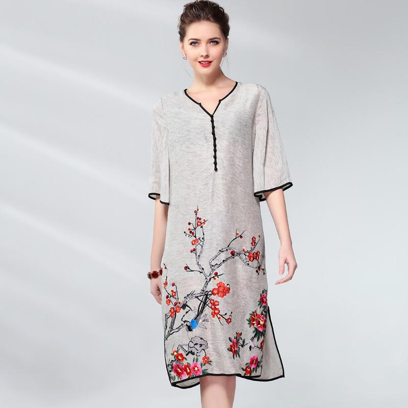 Vintage Dress Women Plus Size Silk Linen Embroidery Spring Summer Fashion V-neck Half sleeve Side split Loose A Line Dress