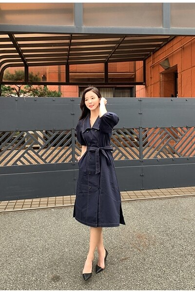LLZACOOSH Double-breasted Autumn Loose Sashes Jeans Dress 19 Women Office Turn Down collar Blue Denim Half sleeve Cowboy Dress 3