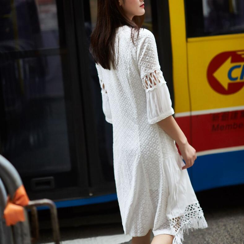Half Sleeve Embroidery Hollow Bandage Summer Dress For Women Tunic Lace Lantern Sleeve Irregular Dresses For Women Women 3