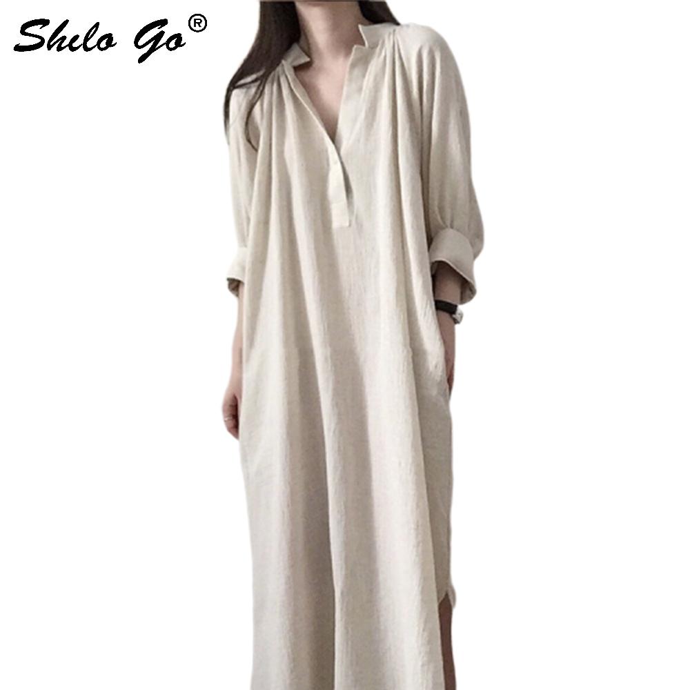 Beige Lantern Sleeve Tunic V Neck Shirt Dress Women Side Pocket Half Sleeve Summer Dress Casual Slit Hem Long Dresses Female 2