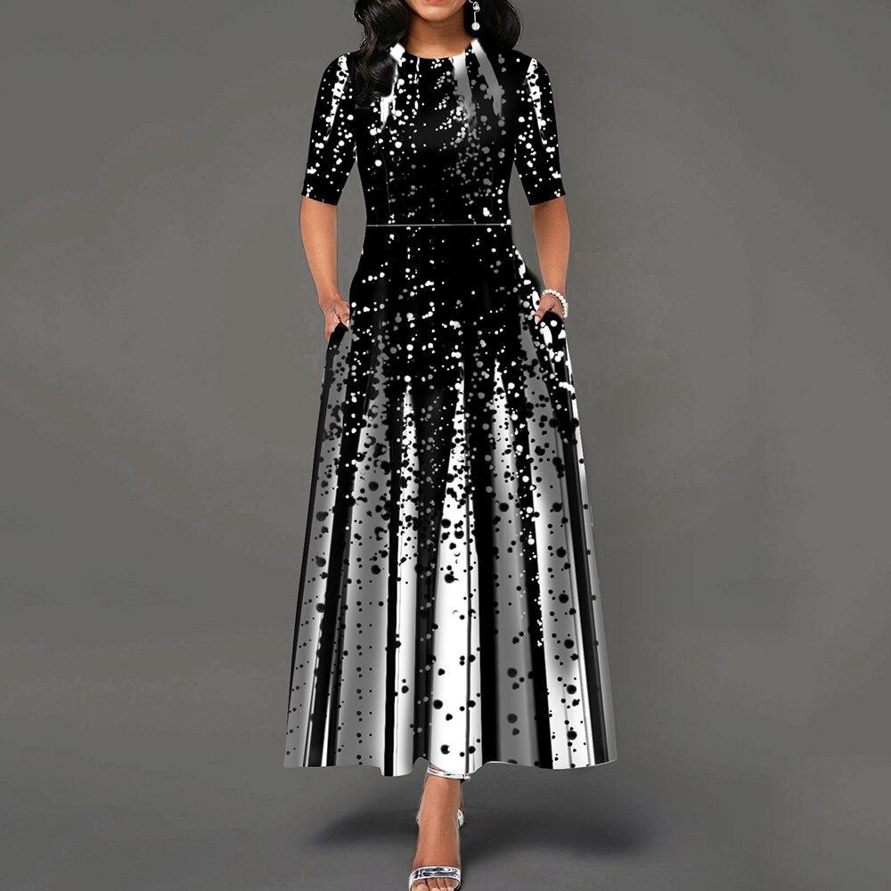 Women 19 Elegant Lady Party Dinner Midi Robe High Waist Bandage Print African Christmas Dress Vestiods Half Sleeve Dress 1