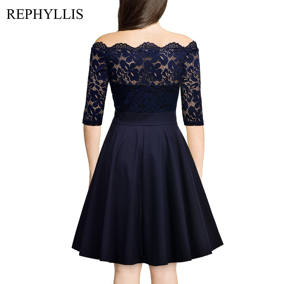 REPHYLLIS Women Lace 1/2 Sleeve Vintage Stitching Cocktail Wedding Guest Party Ceremony Elegant Midi Dress 2