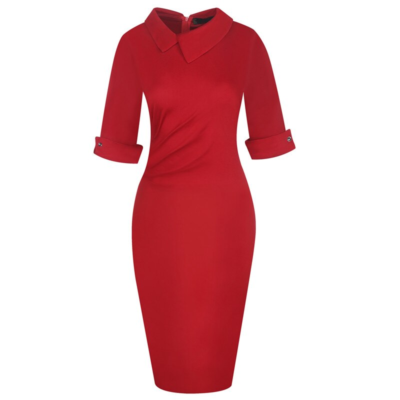 Fmasuth Red Dresses for Women Half Sleeve Knee Length Office Business Elegant Office Clothing Dress ox276 2