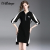 Willstage 18 Autumn Black Dresses Half sleeve Elegant Irregular Dress with hoodies Women Striped Patchwork Casual Vestidos