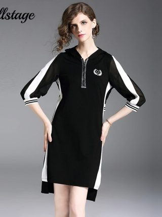 Willstage 18 Autumn Black Dresses Half sleeve Elegant Irregular Dress with hoodies Women Striped Patchwork Casual Vestidos