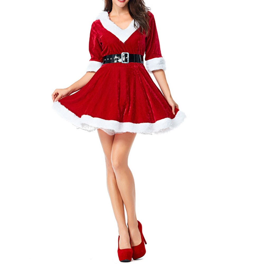 Women Christmas Red V-Neck Half Sleeve Santa Claus Dresses Sexy Fancy Plush Hoodie Ball Grow Female Mini Dress Cosplay Costume 2