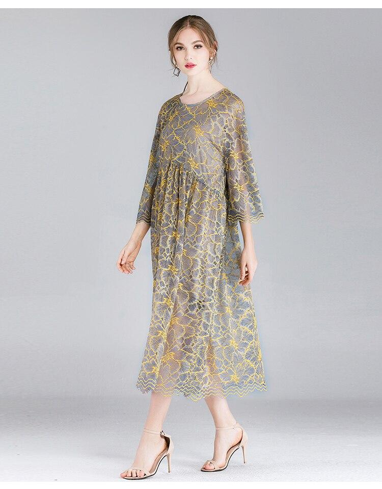 ladies lace long dress elegant party dressEmpire longos vestidos plus size half sleeves loose fit two pieces dress de festa 4XL 3