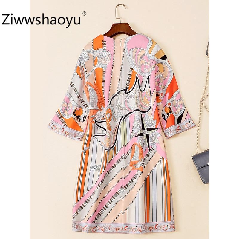 Ziwwshaoyu 19 New Autumn Geometric Print Loose Dress Women's Fashion Half Sleeve Crystal Beading luxury Dresses 3
