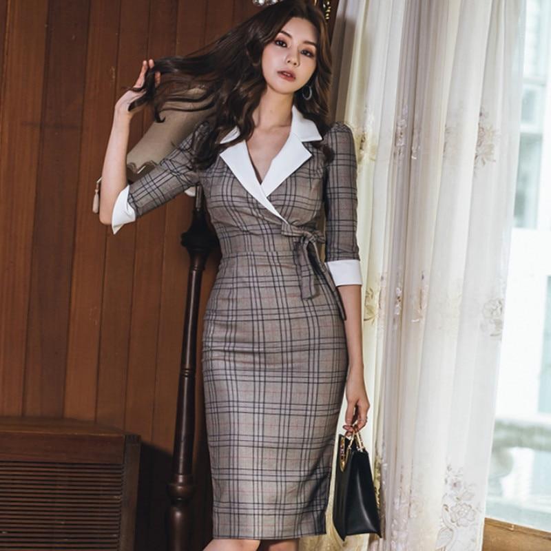 Autumn Notched Vintage Plaid Vestidos Bowknot Half Sleeve Knee-Length Bodycon Pencil Office Work Cloth Dress 1