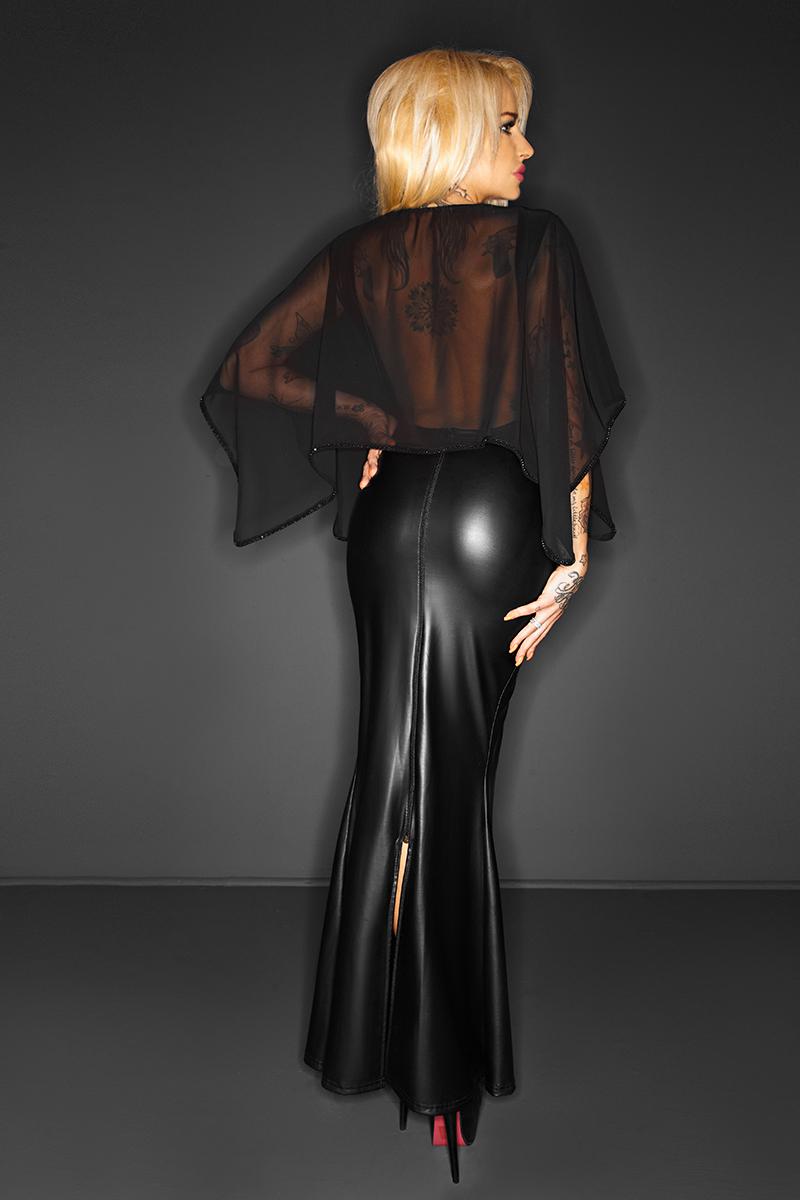 Long Maxi Mesh Dress Transparent Cape Wetlook Vinyl Leather Clubwear Gothic Black Split Bodycon Dresses Club Party Dresses Robe 2