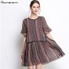 Summer Striped Chiffon Dress Women Clothing Beading O-neck Flare Half Sleeve Dress High Quality Plus Size 5XL 4XL 3XL 2XL XL L M