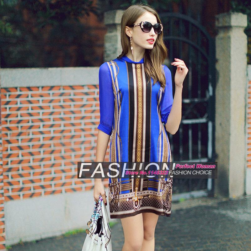 16 new spring Europe temperament Sleeve Silk Stretch Satin Dress leopard print half Sleeve straight dress 3