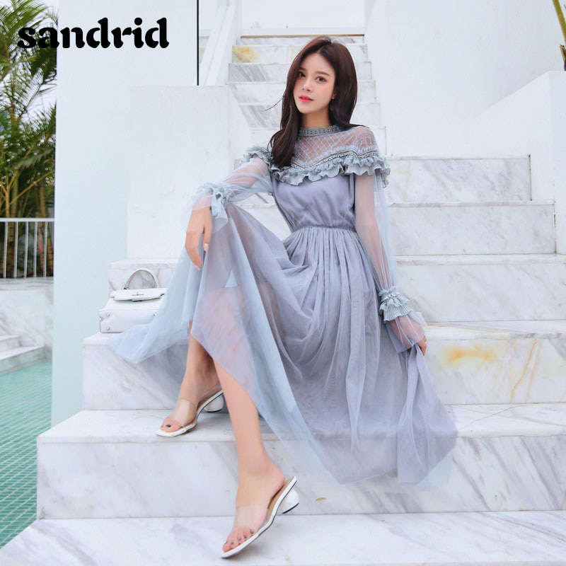 sandrid 19 French dress with flared sleeves with half-high neckline lace patchwork mesh 1