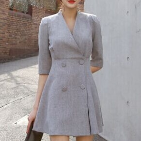 spring women work OL temperament dress simple double-breasted V-neck dress solid color half sleeve dress 1