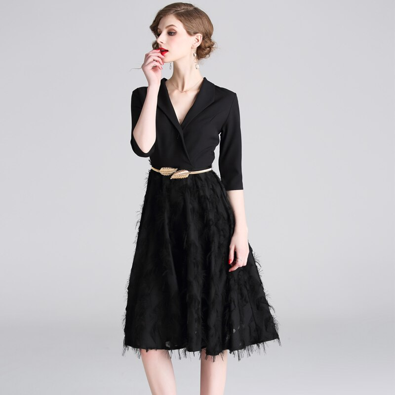 Feathers Patchwork Black A-line Office Dress 19 Spring Women Half Sleeve Notched Formal Dress Female Tassel Dress With Belt 3