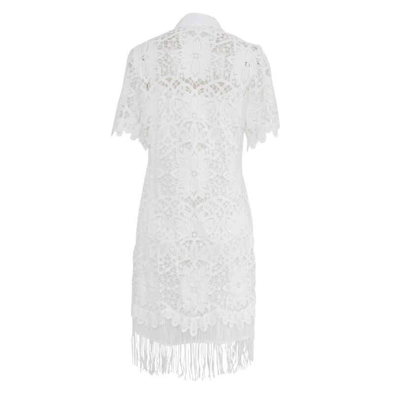 KAMIYING Hollow Out Lace embroidery Tassel Women's Dress Stand Collar Half Sleeve High Waist Mini Dresses Female  Fashion 3