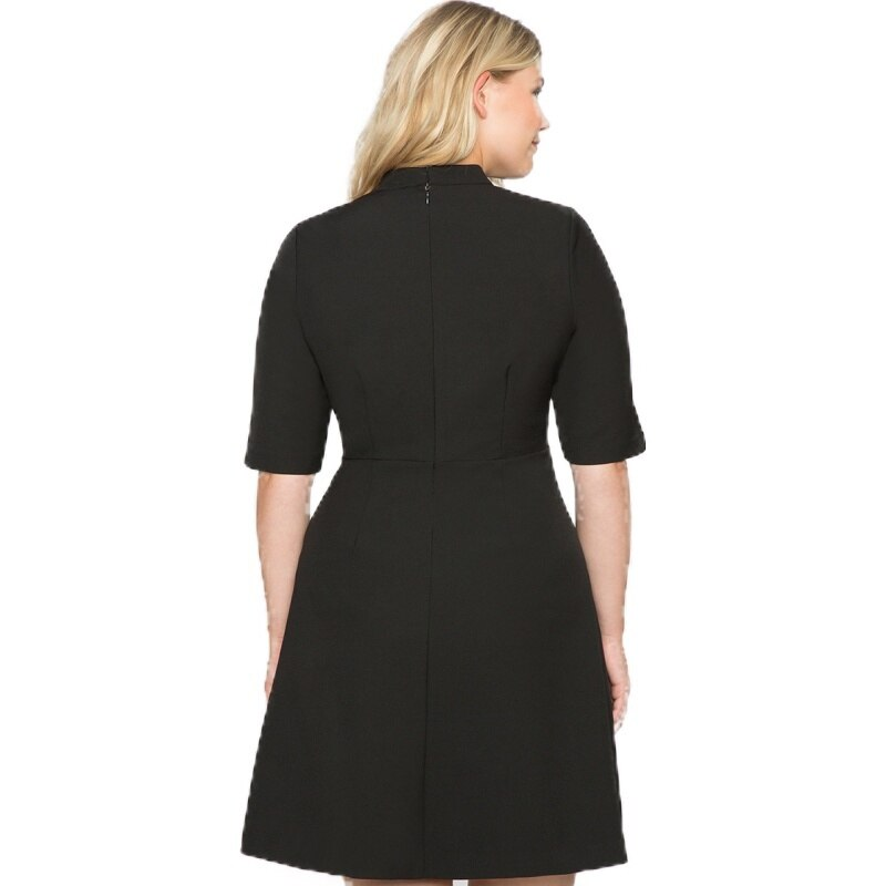 HDY Haoduoyi Large Size Metal Double-Breasted Decorative Half-High Collar Five-Point Sleeves Waist A-Line Dress 3