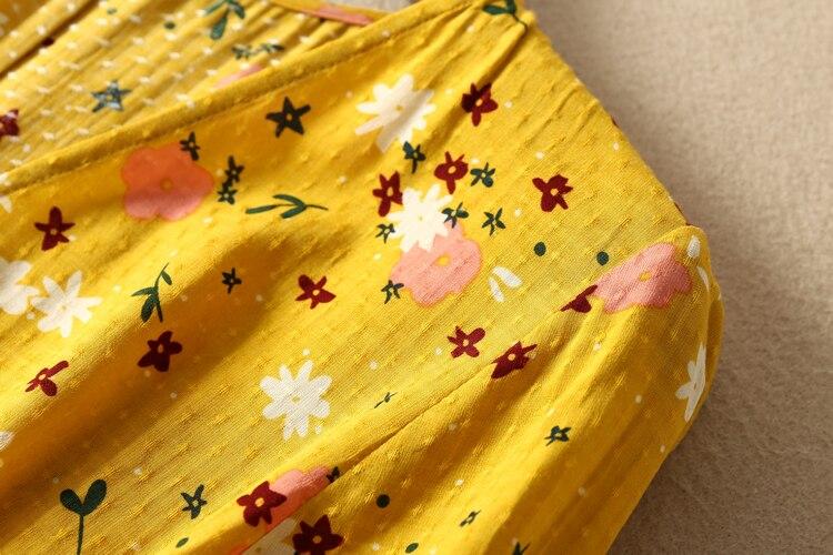 CAMIA French 100% viscose V collar waist knot half sleeve floral printing Elegant and high quality midi dress 3