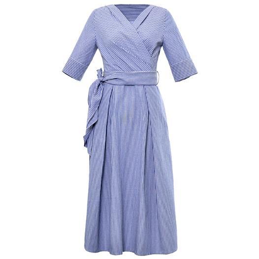 women Elegant office lady Striped half sleeve Shirt Dress v-neck Sleeve knee-length slim a-line Dress With Belt 2