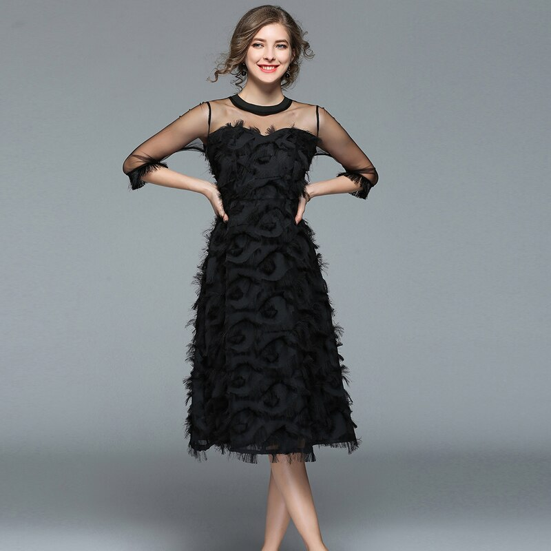 18 Autumn woman black Tassel Mesh Patchwork long dress female Sexy half Sleeve feather dress party Club lady dresses 2