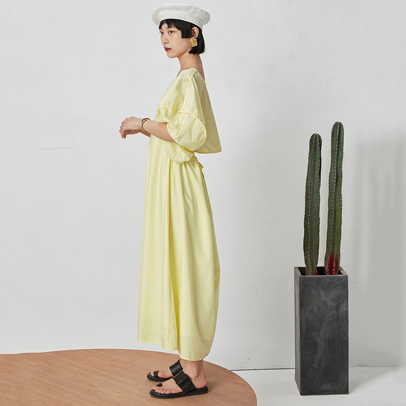 TVVOVVIN 19 New Spring Summer Round Neck Half Lantern Sleeve Yellow Hollow Out Loose Drawstring Dress Women Fashion Tide D113 3