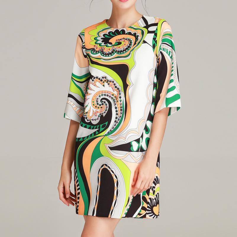 High quality 19 designer fashion summer dress Women's Half Sleeve Pattern Printed Sequined Beaded Vintage Straight Short Dress 3