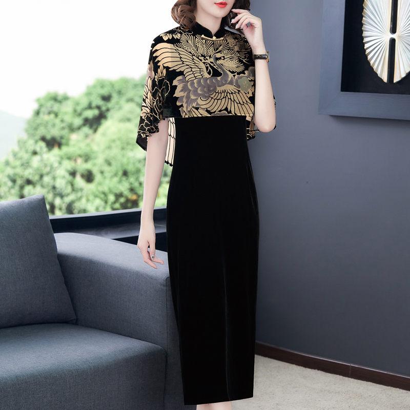Chinese Style Clothing Gold Velvet Print Cloak Vintage Qipao Dress Women Elegant Plus Size Party Dress Femme Robe Vestidos f2626 2