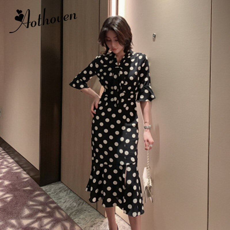 Summer High-end Fashion Women Dresses V Neck Half Sleeve Dot Mermaid Dress Elegant Bandage Sexy Party Midi Dress Elegant Vestido 1