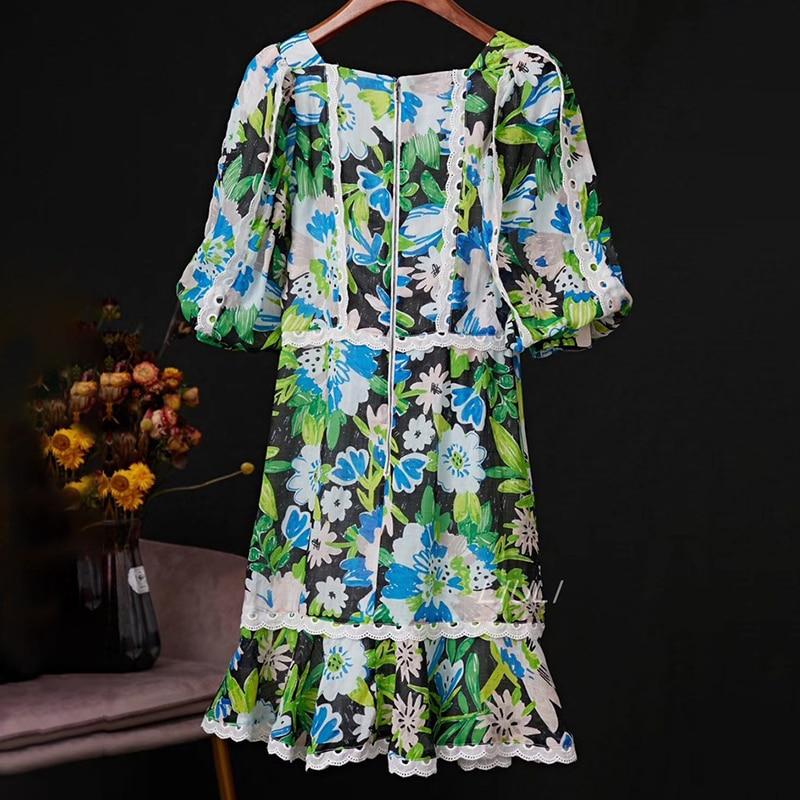 TWOTWINSTYLE Patchwork Lace Print Dresses For Female V Neck Lantern Half Sleeve High Waist Ruffle Dress Women Fashion  Tide 2
