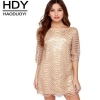 Haoduoyi The new Women's Fashion cute slim Loose Hollow out Wave Sequin Dress Five-Sleeve Straight Dress