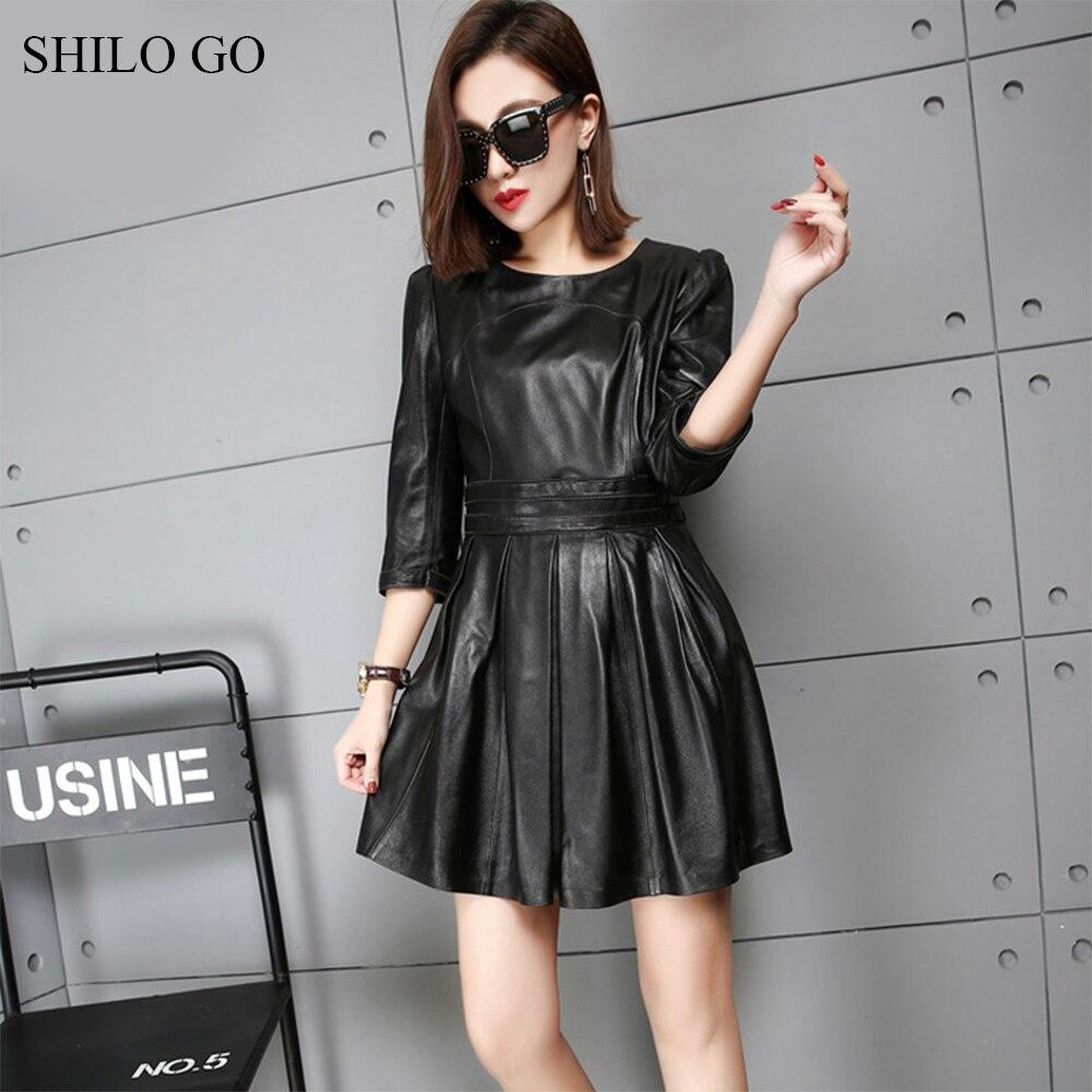 SHILO GO Leather Dress Womens Spring Fashion sheepskin genuine leather dress O Neck half sleeve office lady pleated dress 3