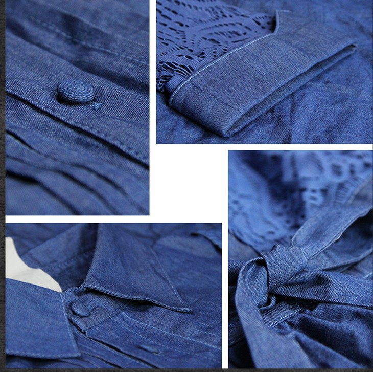Women Hollow Out Half Sleeve Denim Dress Turn-Down Collar Blue Casual Work Dresses Short Jeans Dress Blue Vestido with Belt 3
