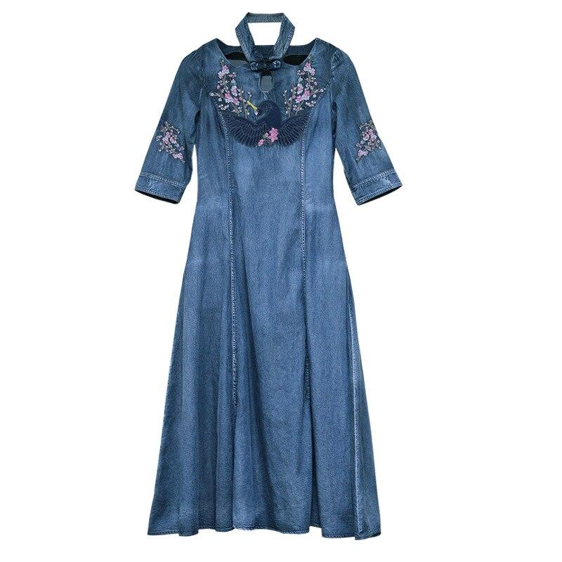 Autumn Denim Dress Women Half Sleeve Floral Embroidery Vintage Jeans Dresses Ladies Stand Collar A Line Long Retro Denim Dresses 3