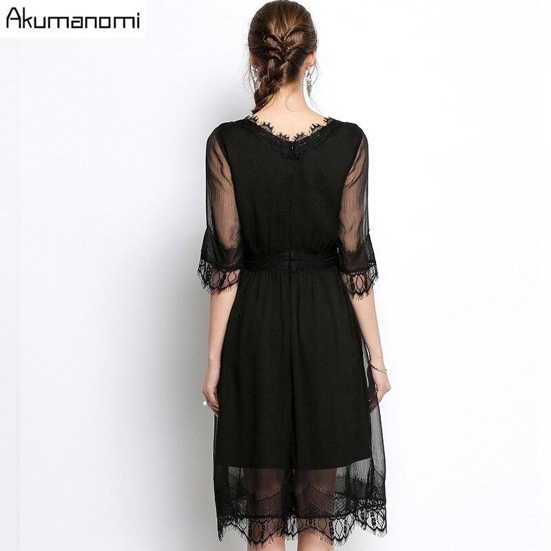 Summer Chiffon Dress Women Clothing Eyelash Lace V-neck Half Sleeve Wave Hem Dress High Quality Plus Size 5XL 4XL 3XL 2XL XL L M 3