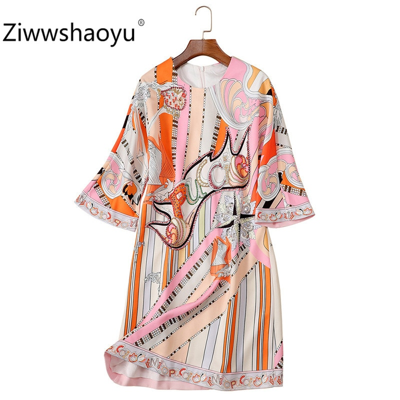 Ziwwshaoyu 19 New Autumn Geometric Print Loose Dress Women's Fashion Half Sleeve Crystal Beading luxury Dresses 1