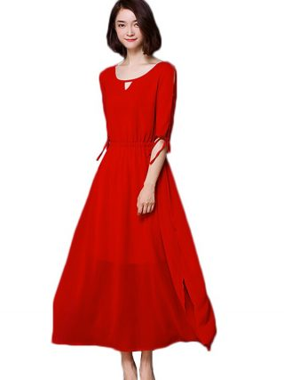 Summer Dress Women 18 New Bohemia Long Dress Solid Color Half Sleeve Plus Size 5XL Vestidos Female Chiffon Beach Dress AA178
