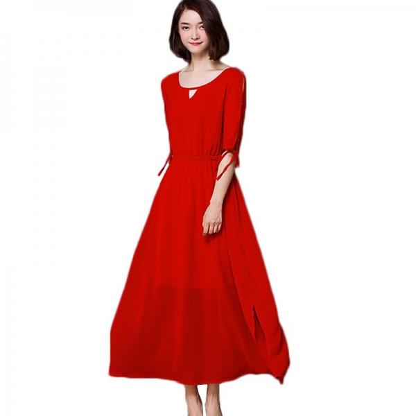 Summer Dress Women 18 New Bohemia Long Dress Solid Color Half Sleeve Plus Size 5XL Vestidos Female Chiffon Beach Dress AA178