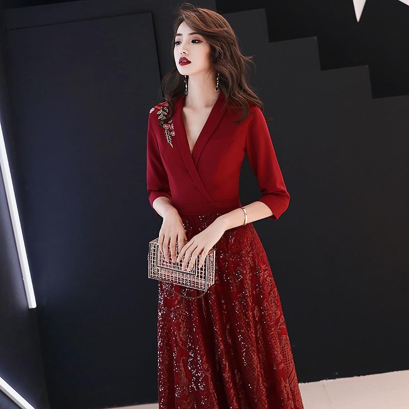 19 New Autumn Winter Dress Half Sleeve Temperament Red Dress Female Sexy V-neck Shoulder Embroidery Women Dress Sequin Dress 1