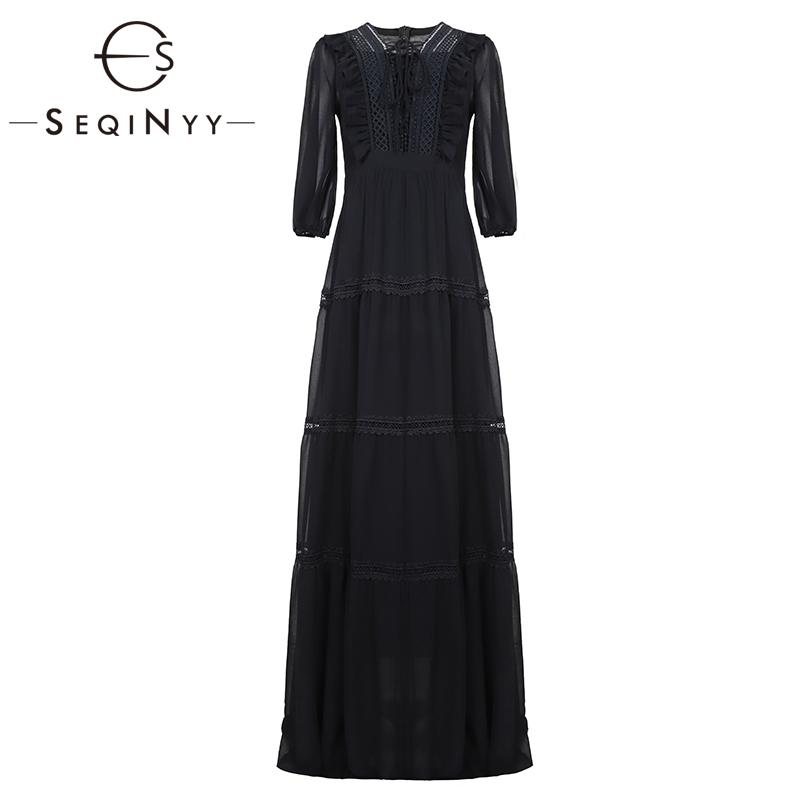 SEQINYY Chiffon Long Dress 19 Summer Spring New Fashion Design Half Sleeve Bow Lace Ruffles Elegant Maxi Dress Women 1