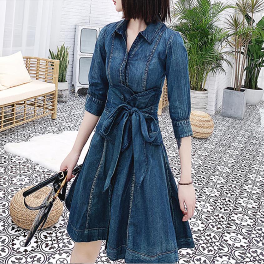 Denim dress women 19 spring new single-breasted retro slim high waist half Sleeve jeans dress a-line
