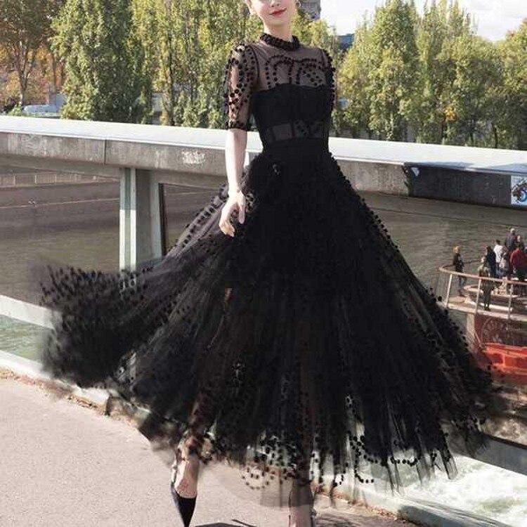 Runway Women Mesh Ball Gown Party Long Dress 19 Spring Sexy Black Ball Half Sleeve Slim Boho Dress Elegant Vestidos 1