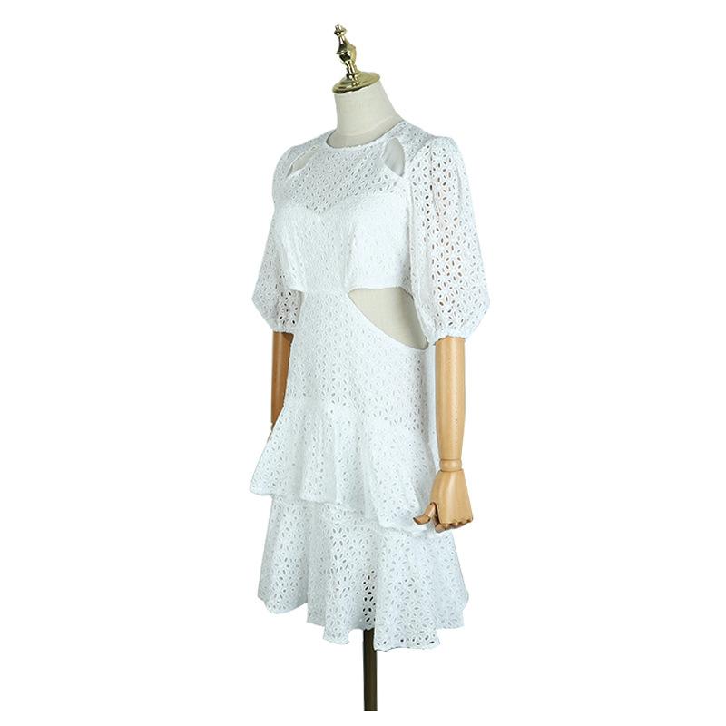 19 New Sexy Hollow Out White Women's Dresses Puff Half Sleeve High Waist Mini Dress 3
