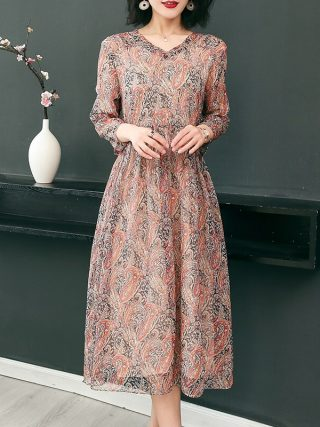 19 New Women's Clothing Spring Summer Fashion Flowers Printing V-neck Dress Half Sleeves Rayon Chiffon Dresses Female