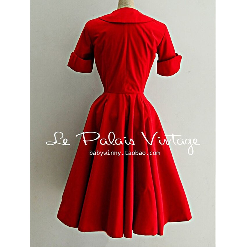 FREE SHIPPING Le palais vintage elegant red classic peter pan collar half sleeve one-piece dress 3