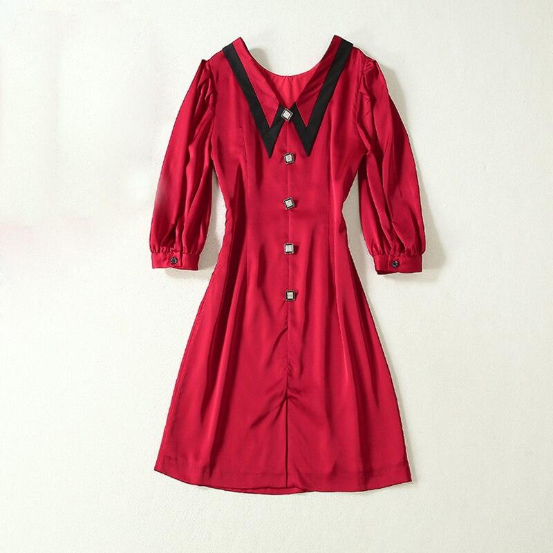 HIGH QUALITY Newest 19 Runway Dress Women's Half Sleeve Peter Pan Collar Button Dress 1